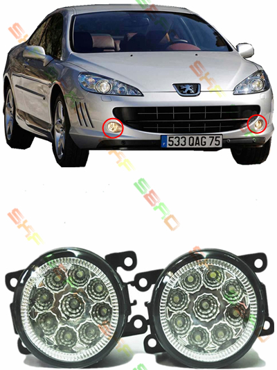 For PEUGEOT 407 Coupe  2005  car styling led fog lamps  Refit fog lights    12V  2 PCS  White  Yellow<br><br>Aliexpress