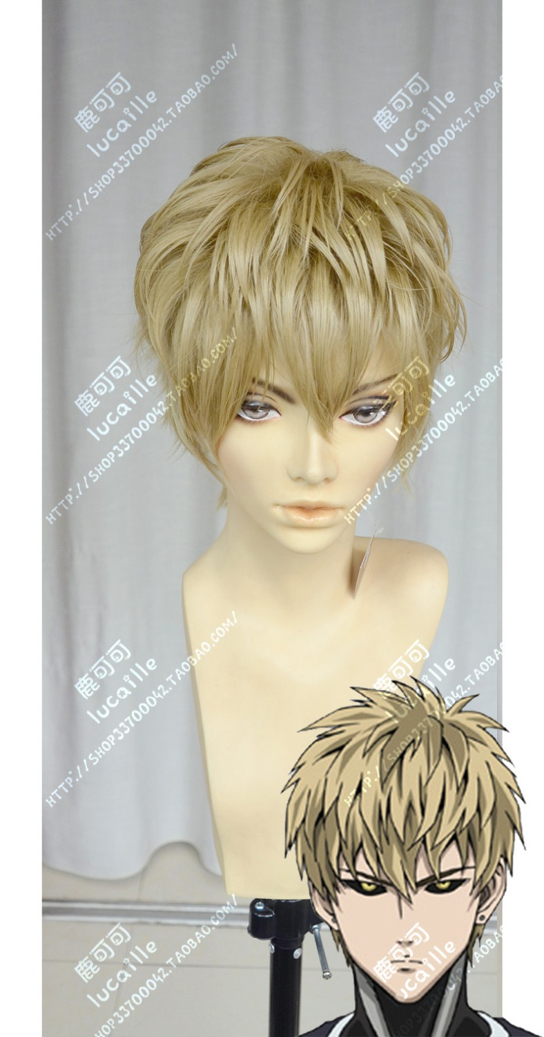 Genos High Quality Short Linen Golden Full Lace Cosplay Wigs Anime One Punch Man Natural Hair Wig Free Shipping<br><br>Aliexpress