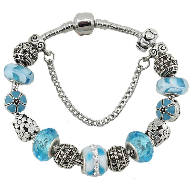 europe fashion glass flower charm bracelets