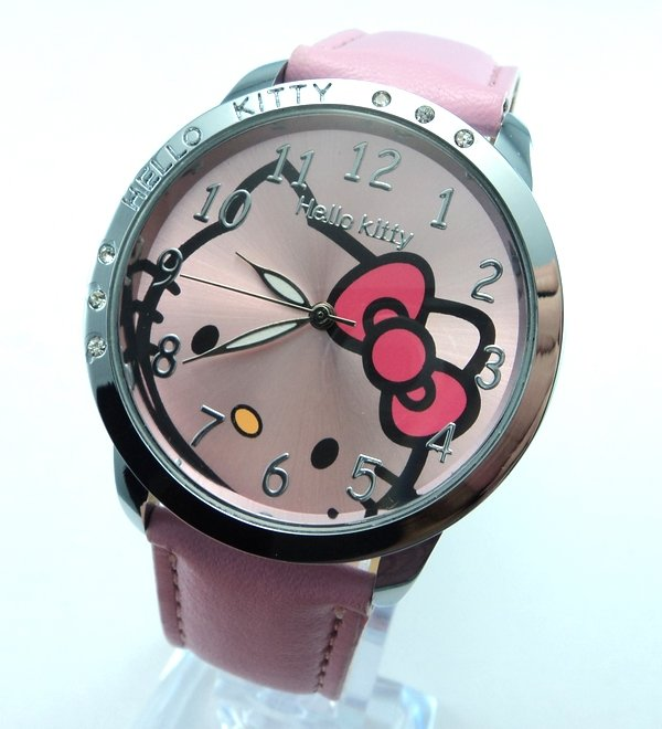 G140 Free Shipping Wholesale New leather wristwatch cartoon fashion hello kitty quartz watch children(China (Mainland))