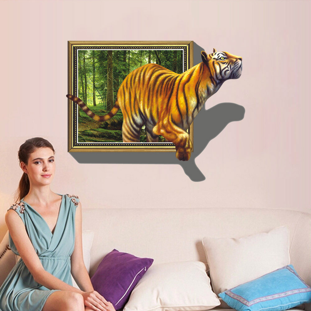 PVC 70*100cm 3D Wall Stickers Removable 3D Tiger Living Room Home Decoration Wall Stickers Home Decor(China (Mainland))