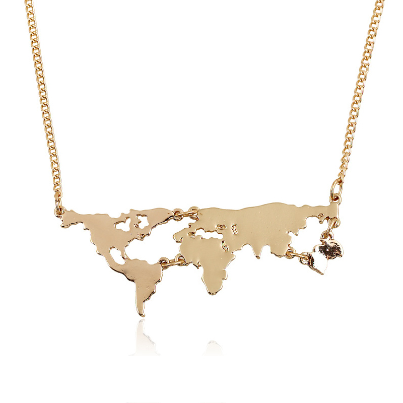 World Map Necklace exaggerated World Continents Clavicle Charm Geography Pend
