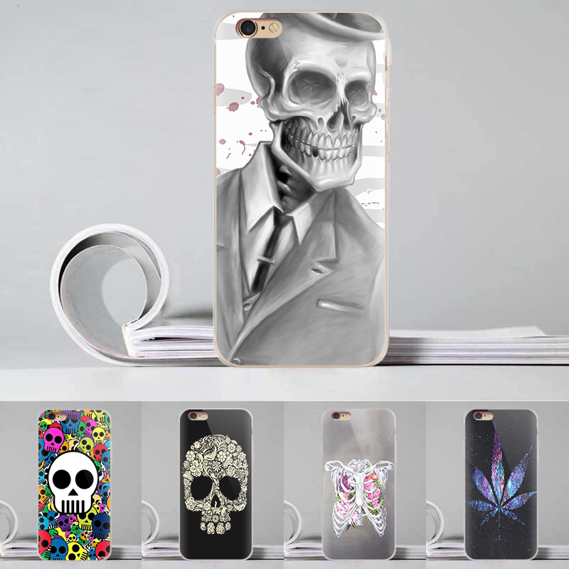 kisscase Fashion 3D Painted Phone Case For Iphone 6S & 6Plus 5S SE Unique Rock Skull Cool Patterns Style Customsized Back Cover(China (Mainland))