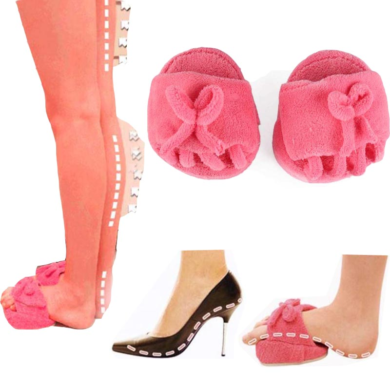 New One Pair Pink Slim Slipper Half Sole Foot Massage Shoes Weight Loss Dieting Legs Slippers Free Shipping(China (Mainland))