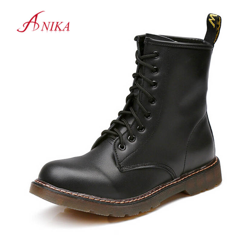 Big Size 35-44 Autumn Winter Women Lace Up Ankle Boots Black Leather Motorcycle Martin Short Boots Thick heel Woman Shoes