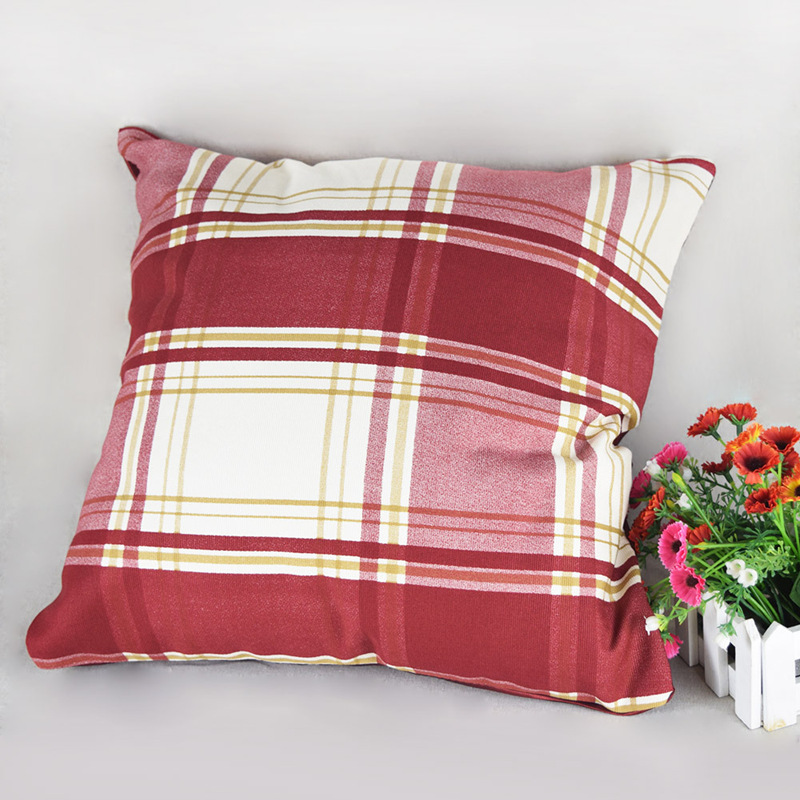 Decorative Throw Pillows Set Living Room Use Handmade Sofa Pillowcase Grid Red Couch Pillows Hot