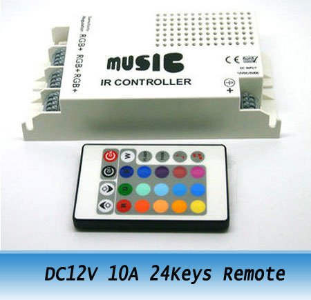 DC 12V 10A 24Keys Remote & IR Music Wireless RGB Controller for led strips ribbon Freeshipping(China (Mainland))