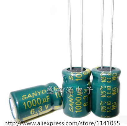 Free shipping 6.3V 1000UF capacitor 8 * 12 high-frequency low-impedance aluminum electrolytic capacitor 1000uf 6.3v(China (Mainland))