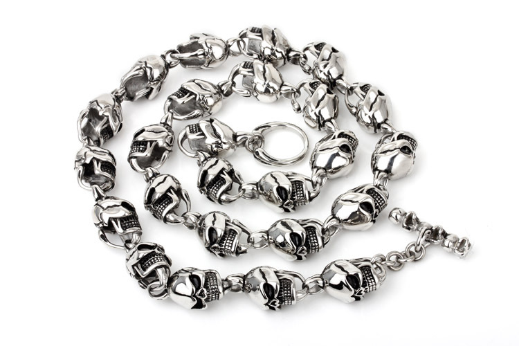 15MM Punk Style Full Skull Necklace 316L Titanium Stainless Steel For Men Rock Hip Hop Biker Silver Fashion Nacklace jewelry(China (Mainland))