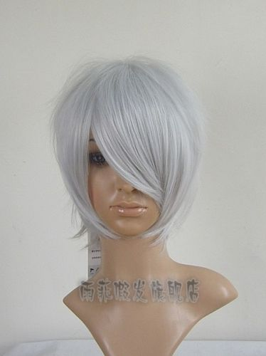 FREE SHIPPING Hot heat resistant Party hair>>>G.AFuture City NO.6 Cosplay Short Silver White Wig(China (Mainland))