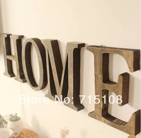 vintage wooden letter free standing big size 23cm height letters home decor wall furnishing articles english - Home Decor Articles