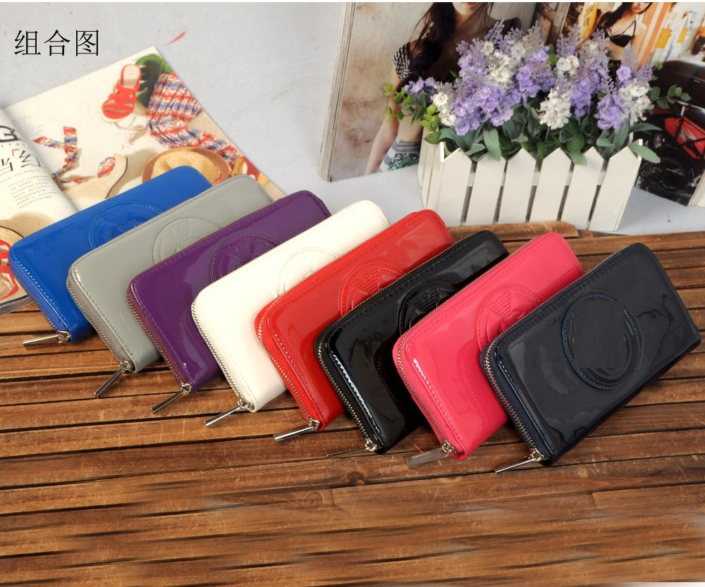 2015 new fashion new patent leather women wallet single zipper lady purse ajs wallet(China (Mainland))