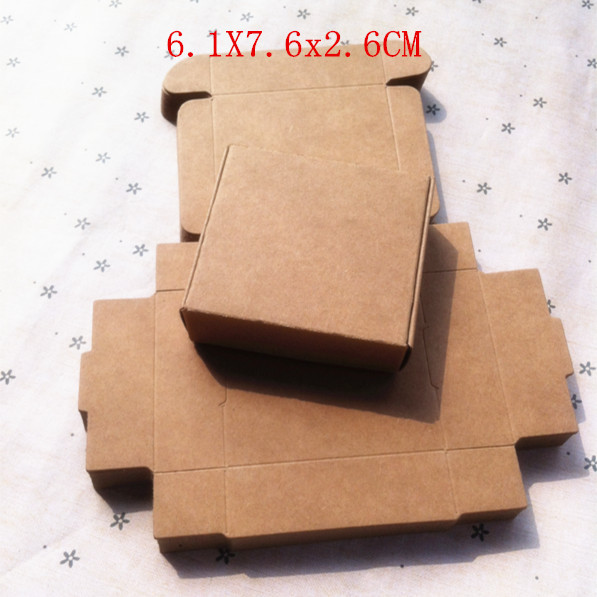 Wholesale 6.1*7.6*2.6cm Packaging Kraft Tray Small jewelry tray Candy box Chocolate Biscuit Food Gift Crates 100pcs/lot(China (Mainland))