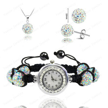 Wholesale Fashion Watch Crystal Shamballa Set Crystal Pendant+Bracelet+Crystal Earring Jewelry Set 10MM Disco Ball Free Shipping