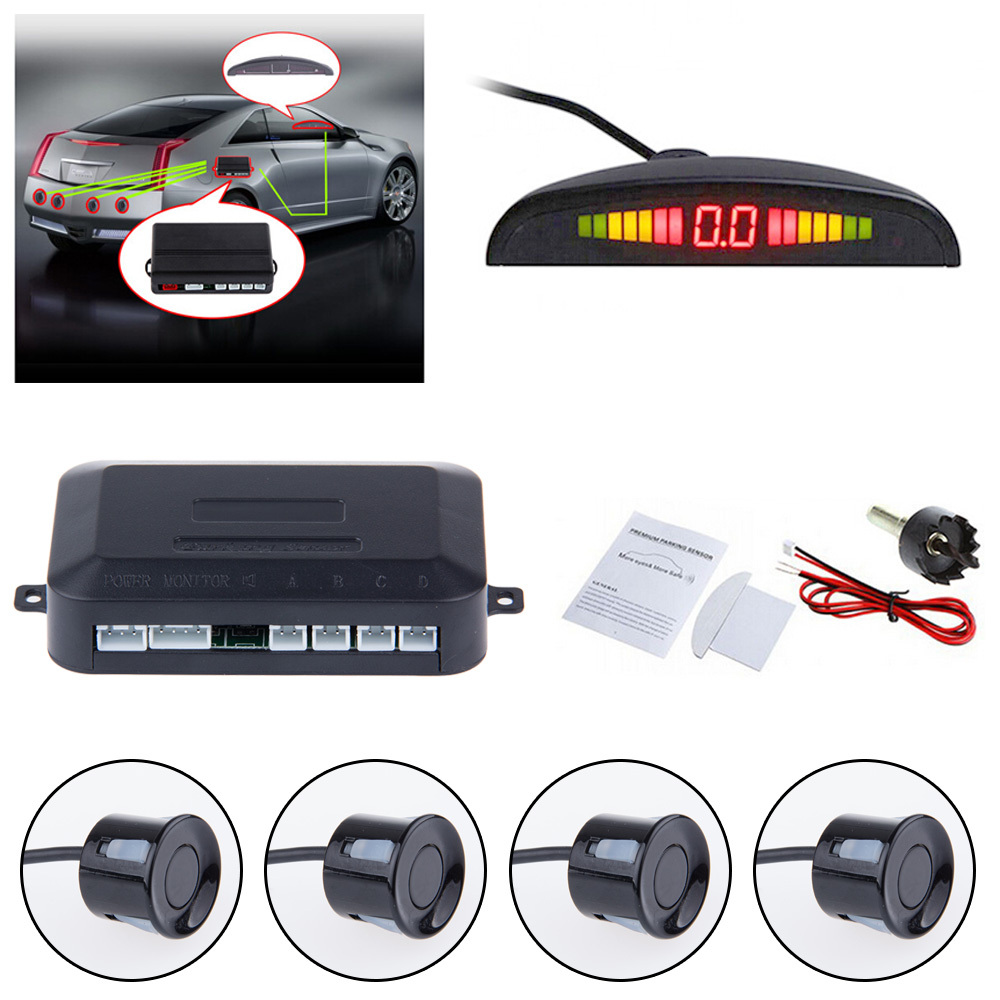 12v Auto Car LED Parking Sensor Electromagnetic Assistance Reverse Backup Radar Monitor System Backlight Display+4 Alarm Sensors(China (Mainland))