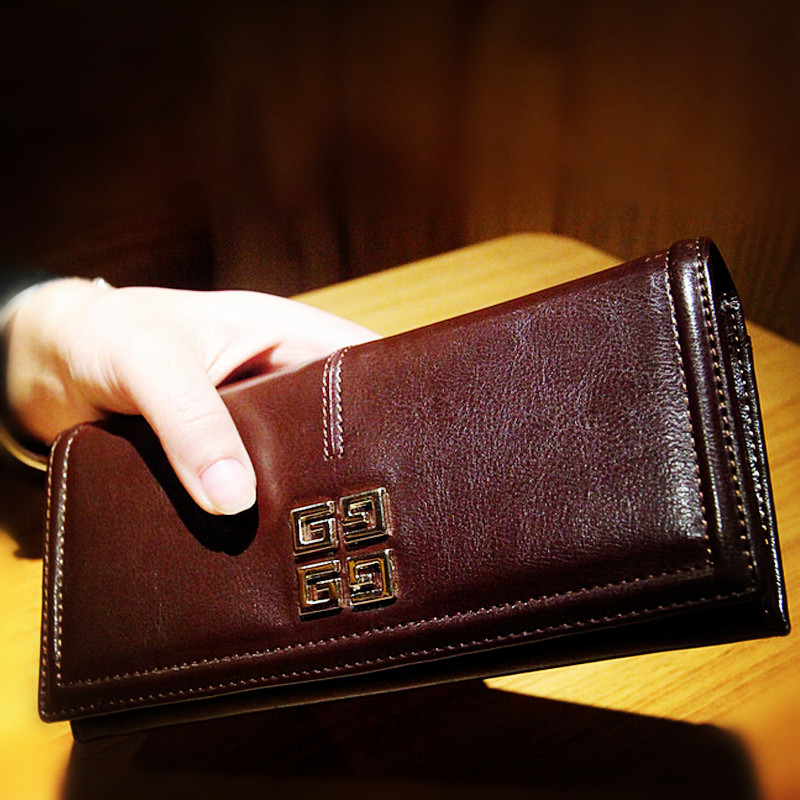 Hot selling women leather wallet lady fashion top design cowhide leather wallet women's card holder wallet(China (Mainland))