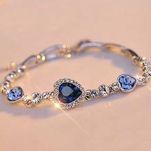 Stylish Women New Ocean Blue Sliver Plated Crystal Rhinestone Heart Charm Bracelet Bangle Gift Jewelry(China (Mainland))
