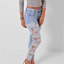 Sexy Women Denim Light Blue Skinny Jeans Crochet Lace Party Female Carve Flower Pants for women Plus Size S-3XL Clothing K096