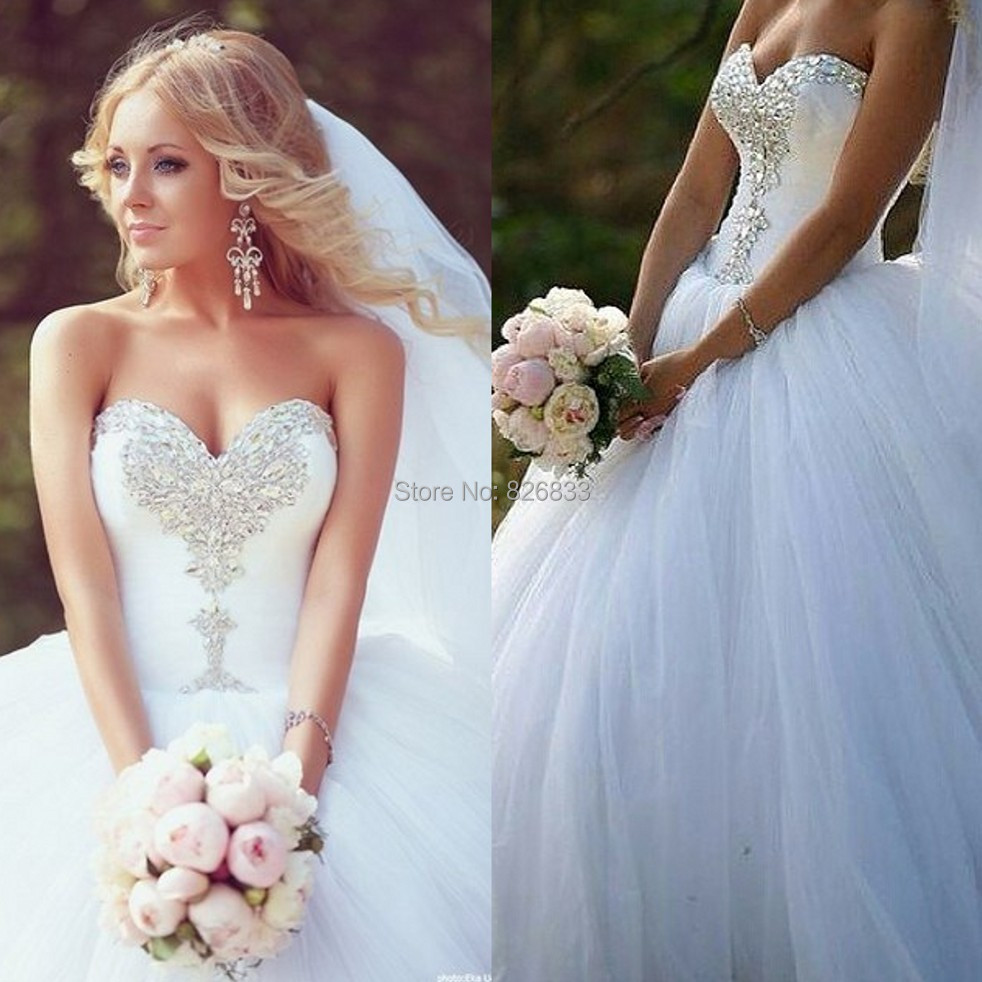 Sparkle crystals white tulle princess wedding dresses sexy for Sexy corset wedding dress