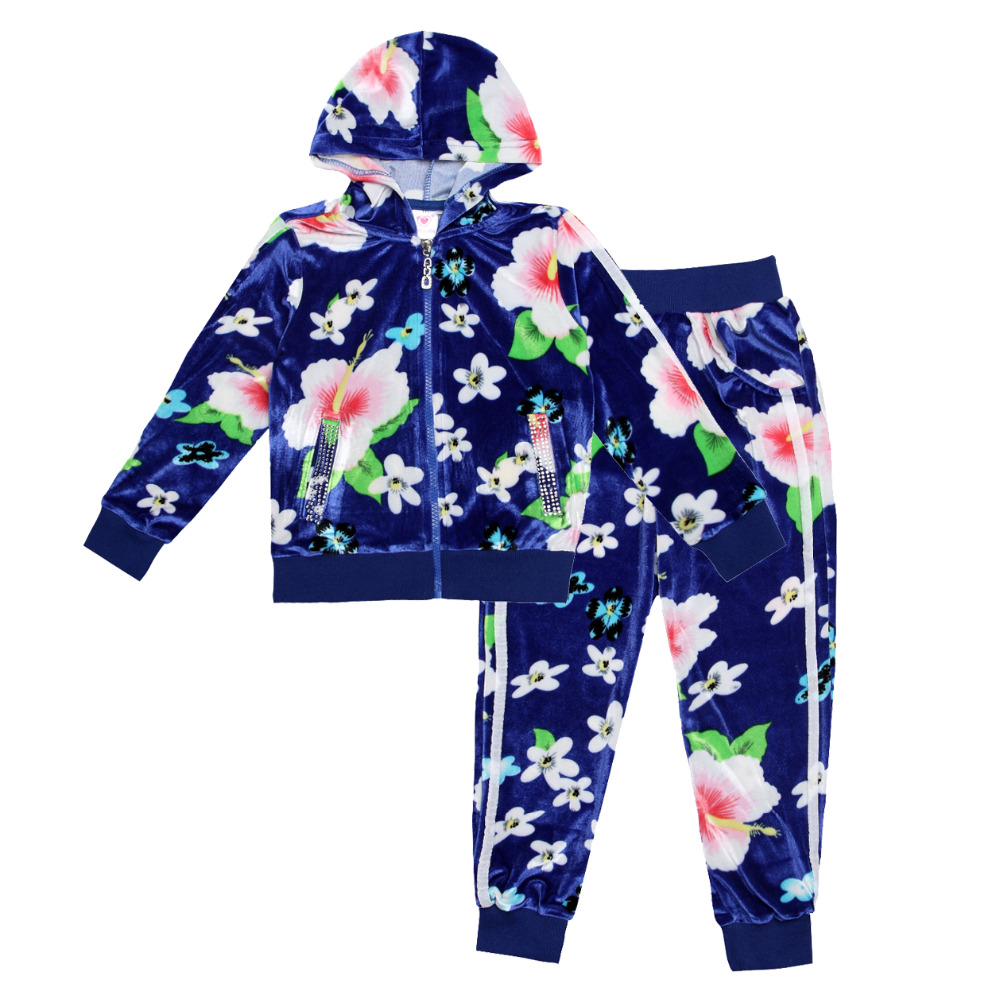 new winter 2015 Children clothing sets for kids girl long sleeve sweater hooded jackets +long pants Floral clothes suits<br><br>Aliexpress