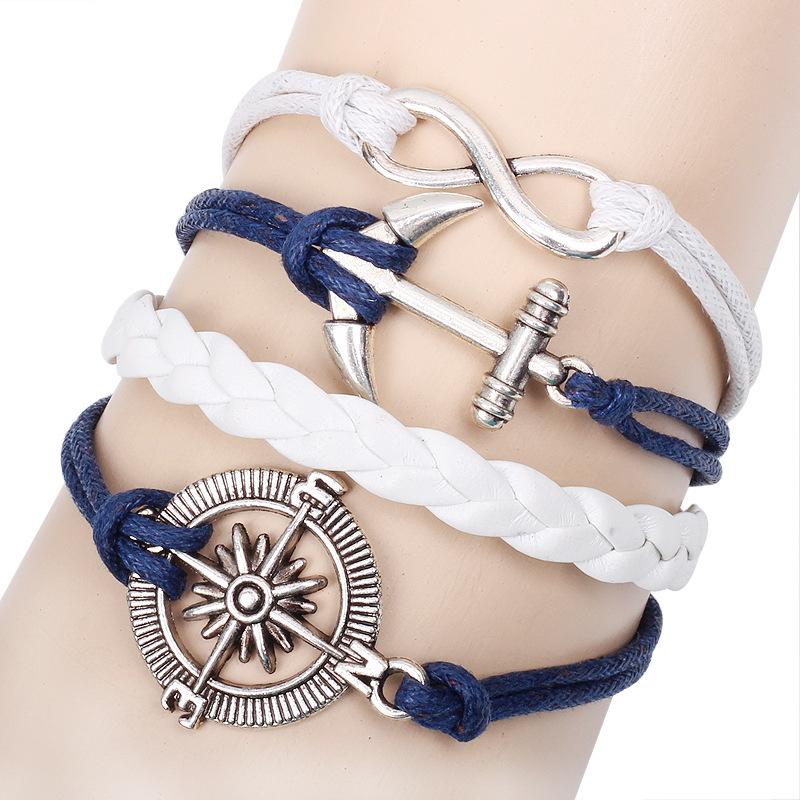 Vintage metal compas rudder anchor retro handmade diy blue leather cord bracelet bestfriend infinity bracelet wholesale(China (Mainland))