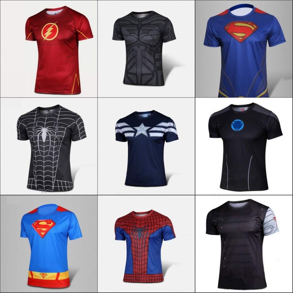 Marvel Super Heroes The Avengers Captain Spiderman T shirt Men Armour Base Layer Thermal Top Sport fitness T shirt(China (Mainland))