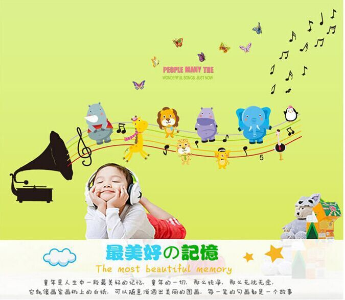 Cartoon Creative Music Butterfly Animals Wind A Trumpet Wall Stickers Kids Room Nursery backdrop Decor Mural Decal ABC1043(China (Mainland))