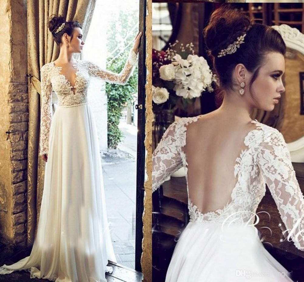 Fast shipping 2016 beach wedding dress with long sleeve for Lace sleeve backless wedding dress