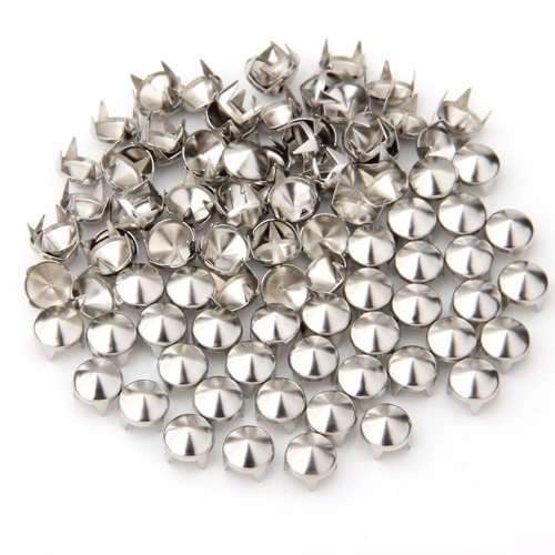 100 Silver Copper Round Cone Rivet Spike Studs Spots DIY Rock Punk 8mm(China (Mainland))