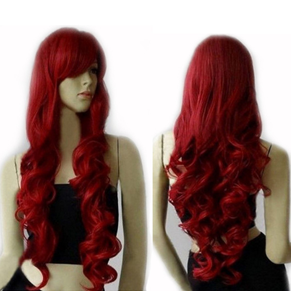 Cosplay Women Long Curly 80CM Dark Red Full Head Set Colorful False Hair Extension COS(China (Mainland))