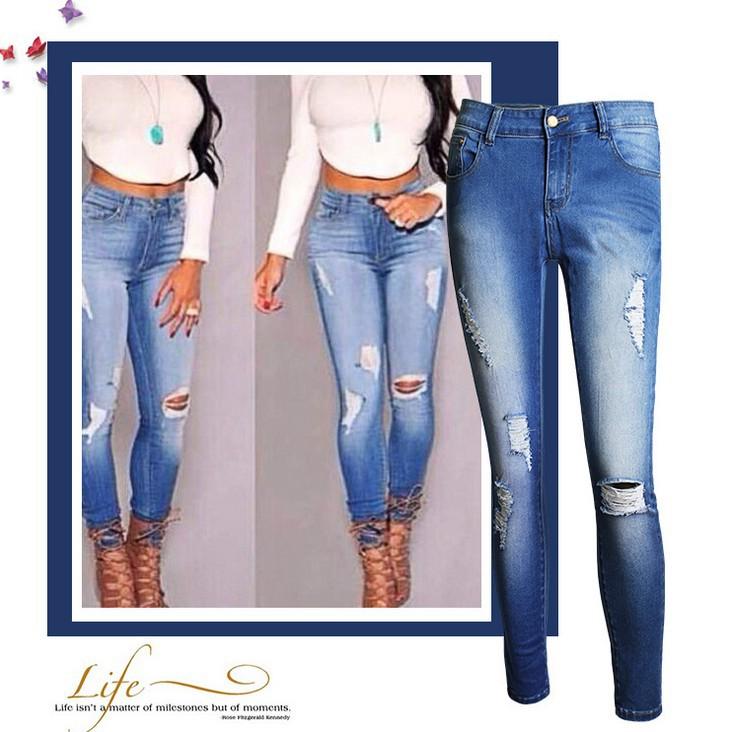 Brilliant 2016 Cotton Dark Sandblast Wash Ripped Jeans For Women Low Waist