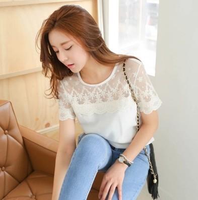 2015 womens blouses plus size chiffon lace blouse casual white shirts short sleeve shirt blusinha camisas femininas - Fashion city's store