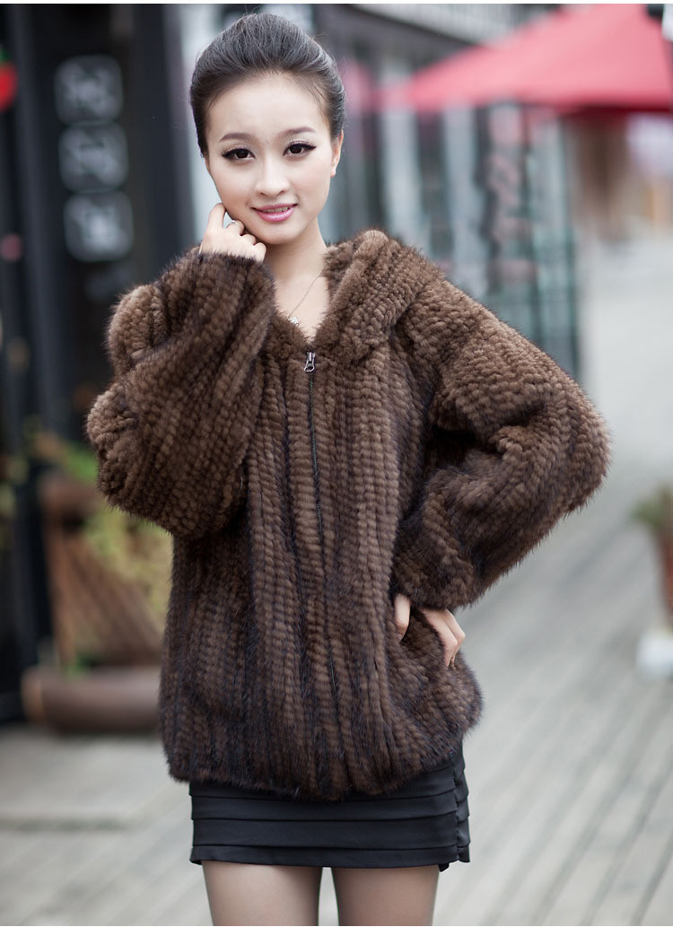 Winter Fur Coat Jacket for Women Genuine Real Knitted Mink Fur Outerwear Coats with Hood Size L to 6XL Plus Size hoodies(China (Mainland))