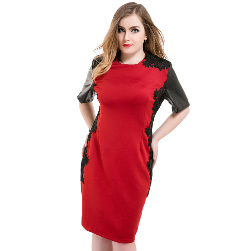 Plus Size Dress Lace Patchwork Vestidos Red Dresses for Woman Short Sleeve O neck 2016 Summer OL PU Midi Bodycon Dress L-6XL(China (Mainland))