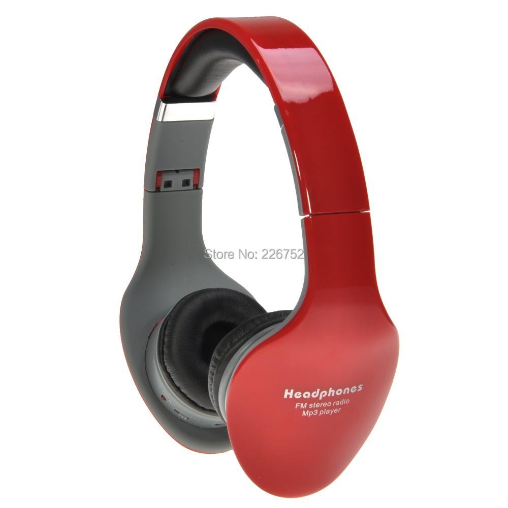 SD-888 Folding Design 3.5mm Plug Headphone Headset Supports FM Radio TF/Micro SD Card-Red(China (Mainland))