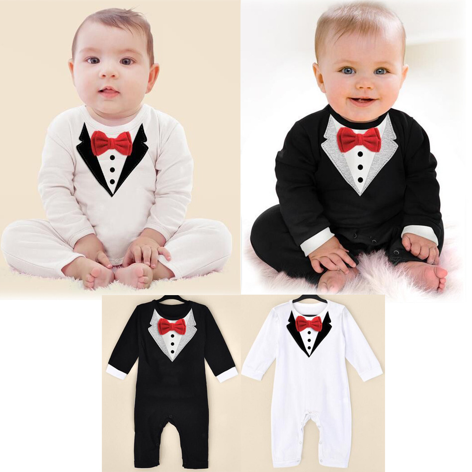 1pcs newborn Boy Baby Formal Suit Tuxedo Romper Pants