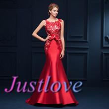 Nueva llegada 2015 seductora rojo de encaje vestido de noche de la sirena larga Formal vestidos robe de soirée(China (Mainland))
