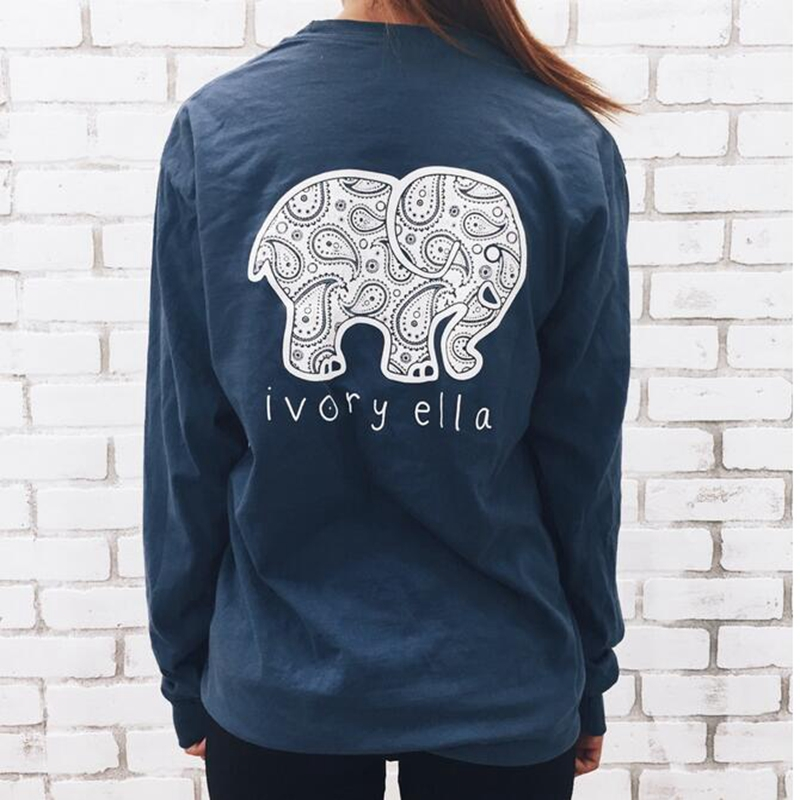 2016 New Brand Elephant Printed T Shirt Women Kawaii Style Long Sleeve With Pockets Casual O-neck Plus Size Tee Tops H378-WT288(China (Mainland))
