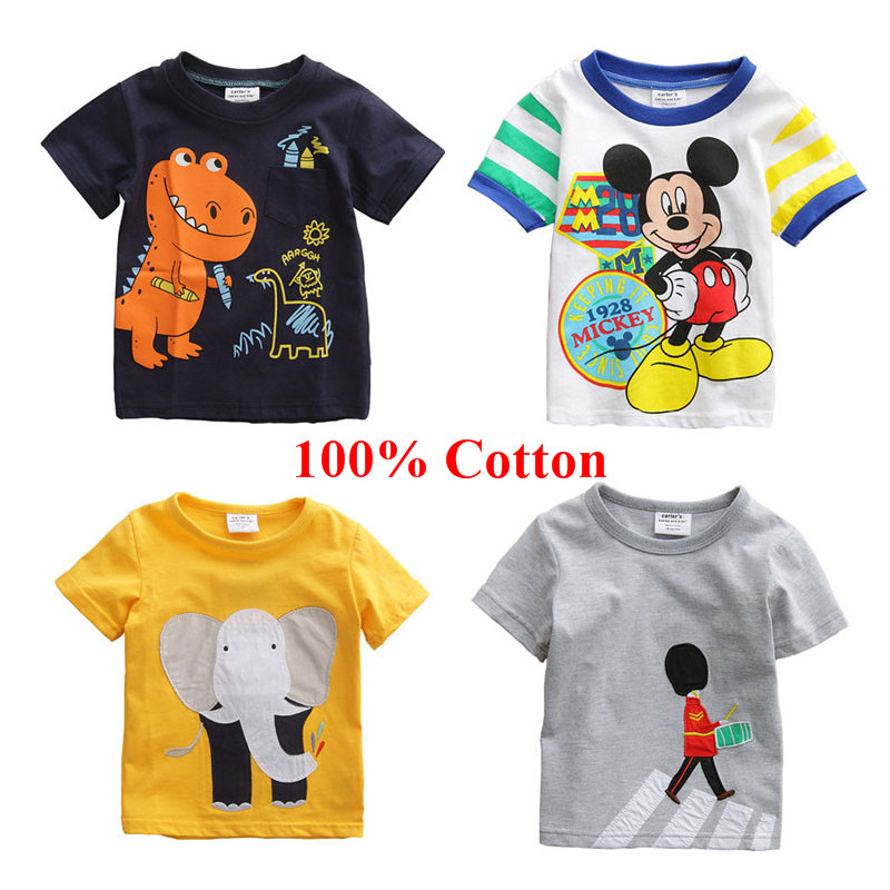 2015 New Baby Boys Summer Cotton Character Design Short Sleeve T shirt Fashion Kids Clothing O-neck Tops