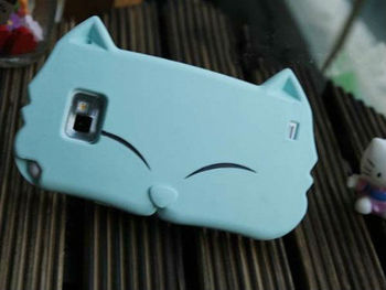 New Cute Cartoon Cat Silicone Case Cover for Samsung Galaxy S2 i9100 Light Blue