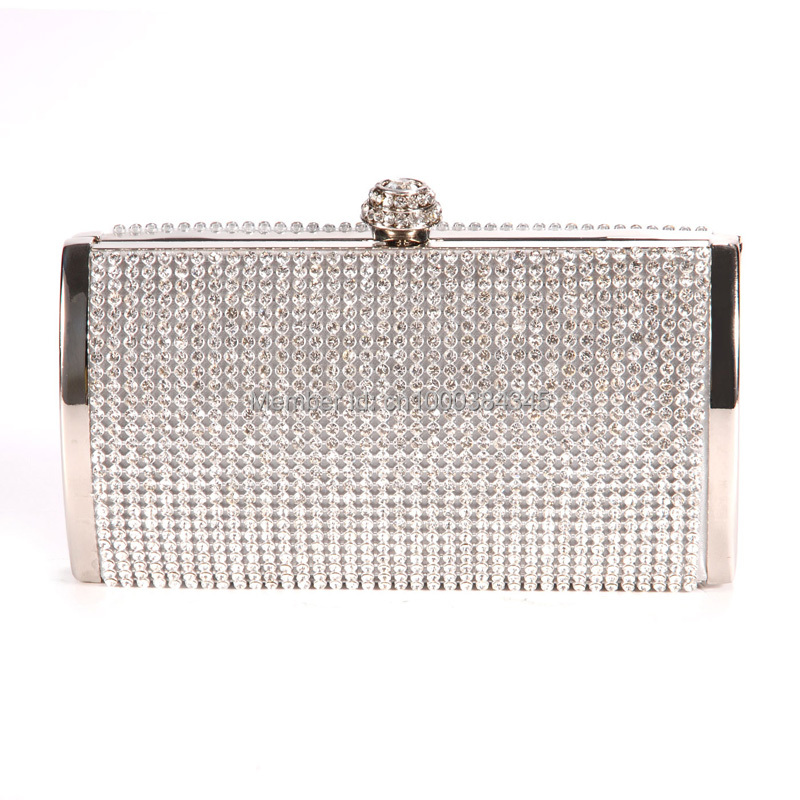 Silver Gold Crystal Diamante Effect Evening Clutch Wedding Party Prom Bag Box(China (Mainland))
