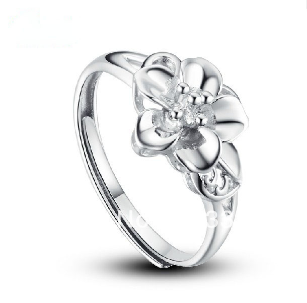 FREE SHIPPING USA WHOLESALES CHEAP PRICE SIZE CAN BE ADJUSTED S925 STERLING SILVER JEWELRY WOMEN&MENS' WEDDING RING PEACH FLOWER(China (Mainland))