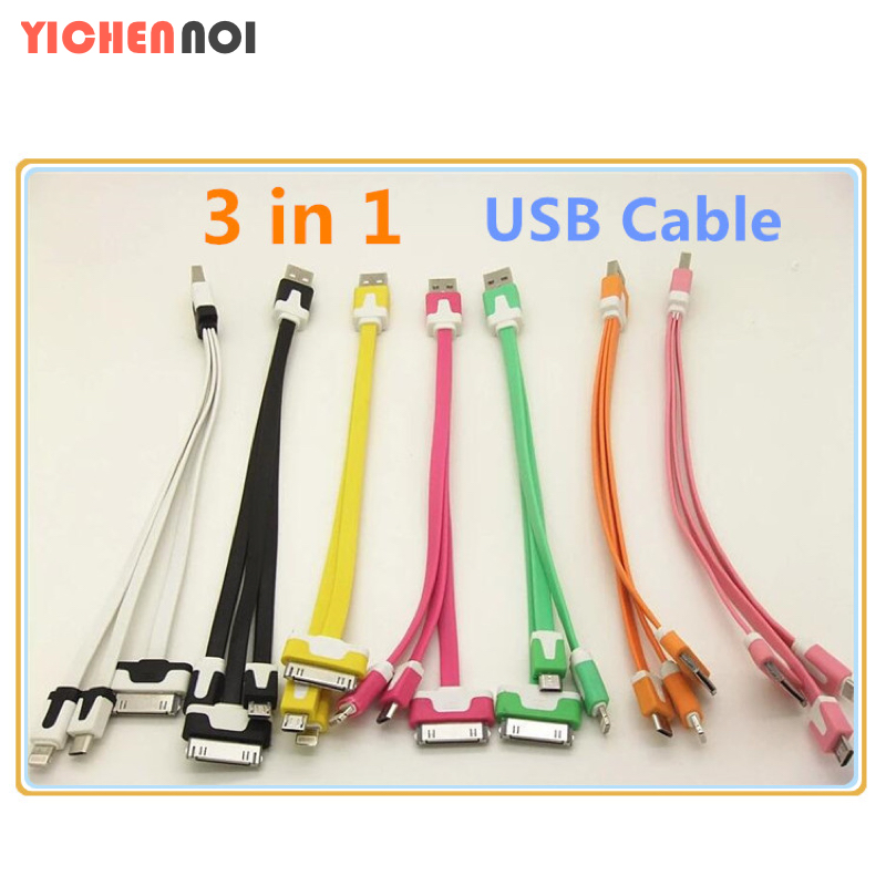 1 PCS new! General multicolor 30CM LED lighting 3in1 USB data synchronization data cable foriPhone 4 5 s 6plus forsamsung HTC(China (Mainland))