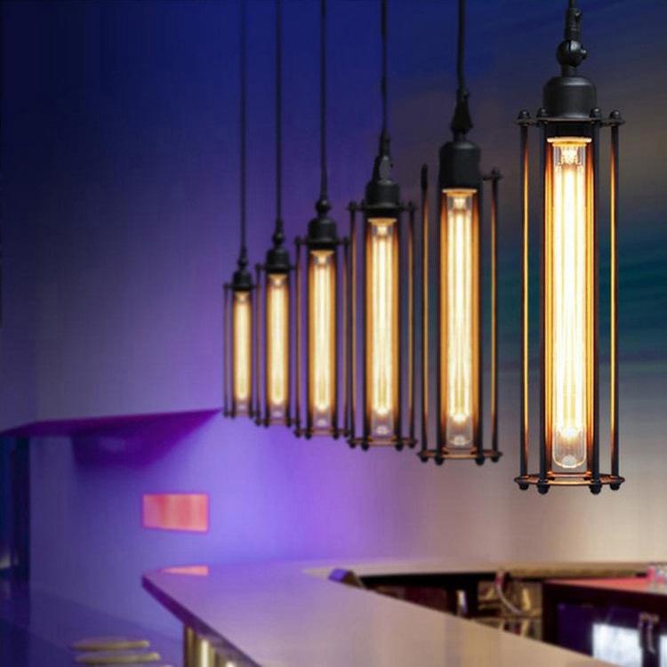 Edison Bulb Loft Style Industrial Wrought Iron Chandelier Flute Light E27 For Restaurant Cafe Decoration 110V 220V Free Shipping(China (Mainland))