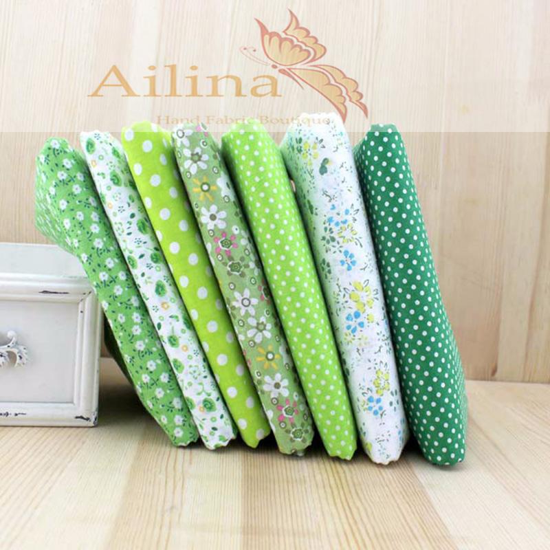 "7 design mix ""green"" fat tank tilda cotton cloth quilting scrapbook together 50 * 50 cm fabric(China (Mainland))"