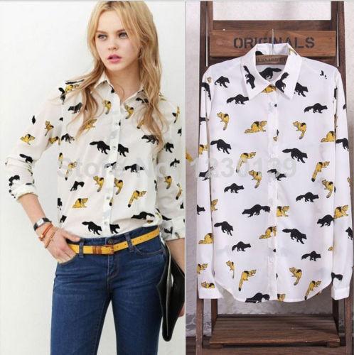 2015 Fashion Womens Summer Tops Women Blouse Shirt Chiffon Plus Size Chiffon Full Sleeves Lips Stars Leopard Print(China (Mainland))
