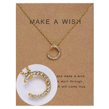 Rinhoo carte de souhait strass arc coeur lune ronde géométrique collier délicat or charme collier pendentifs bijoux pour femmes cadeaux(China)