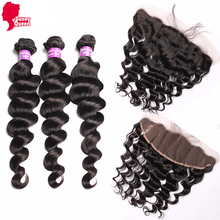 6A Burmese Virgin Hair 13×4 Lace Frontal Closure With Bundles Loose Wave Human Hair With Closure Rosa Hair Products With Closure