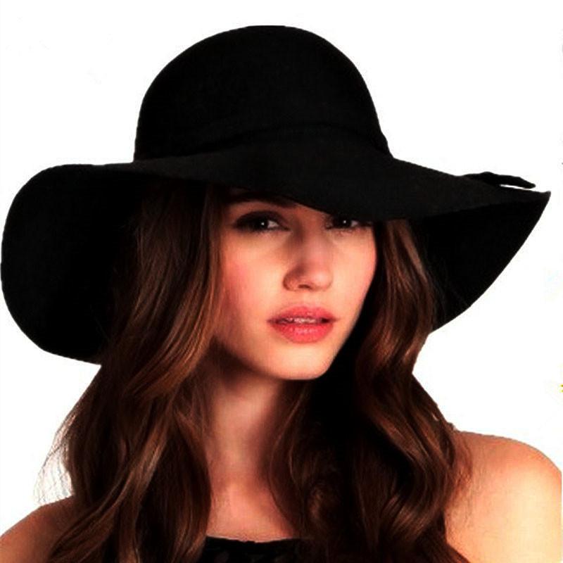 Fashion Wool Lady Fedoras fall Women Floppy caps wide brim Europe style bowler women Panama Jazz jewish hat(China (Mainland))