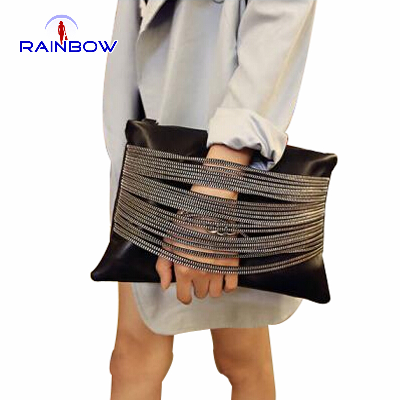 Women Chain Day Clutches PU Handbags Famous Brand Lady Evening Bags Shoulder Bags With Belt(China (Mainland))